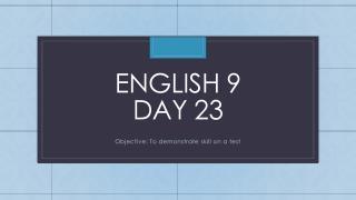 English 9  Day 23