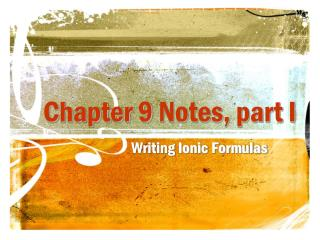Chapter 9  Notes, part I