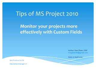 Tips of MS  Project  2010