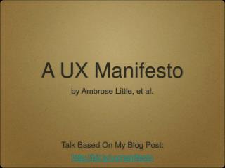 A UX Manifesto