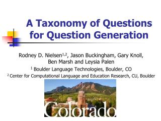 A Taxonomy of Questions for Question Generation