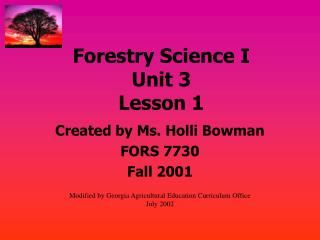 Forestry Science I Unit 3 Lesson 1