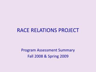 RACE RELATIONS PROJECT