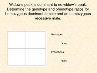 Genotypes: 	ratios: Phenotypes: 	ratios: