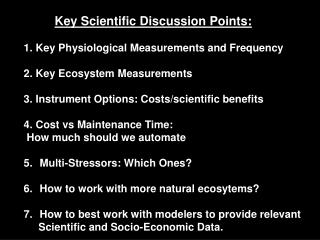 Key Scientific Discussion Points: