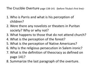 The Crucible Overture  page 138-141   (before  Tituba�s  first line)-