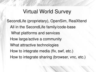 Virtual World Survey