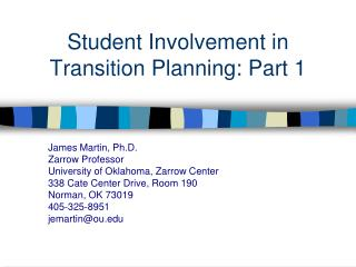 Student Involvement in  Transition Planning: Part 1