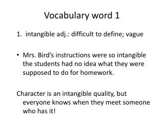 Vocabulary word 1