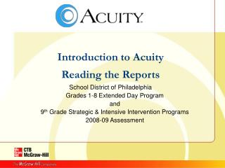 Introduction to Acuity Reading the Reports