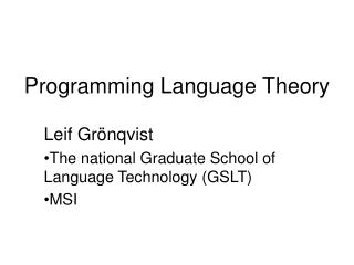 Programming Language Theory