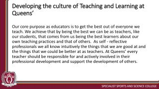Developing the culture of Teaching and Learning at Queens'