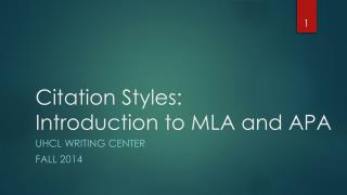 Citation Styles: Introduction to MLA and APA