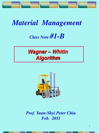 Wagner – Whitin  Algorithm