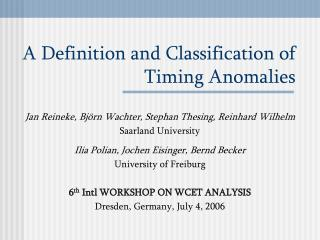 A Definition and Classification of Timing Anomalies