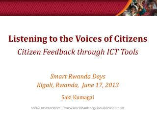 Listening to the Voices of Citizens Citizen Feedback through ICT Tools