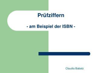 Pr fziffern  - am Beispiel der ISBN -