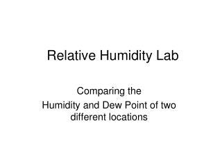 Relative Humidity Lab