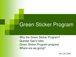Green Sticker Program