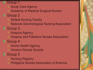 Group 1 Acute Care Agency  Academy of Medical Surgical Nurses Group 2 Skilled Nursing Facility