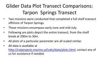 Glider Data Plot Transect Comparisons: Tarpon  Springs Transect