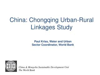 China: Chongqing Urban-Rural Linkages Study