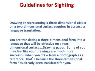 Guidelines for Sighting