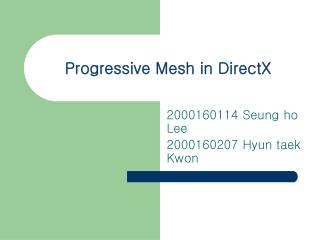 Progressive Mesh in DirectX
