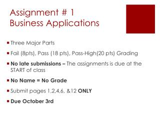 Assignment # 1  Business Applications