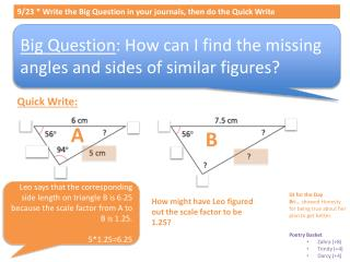 9/ 23  * Write  the Big  Question in your journals, then do the Quick Write