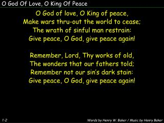 O God Of Love, O King Of Peace