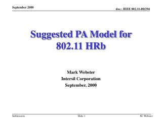Suggested PA Model for  802.11 HRb