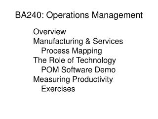 BA240: Operations Management