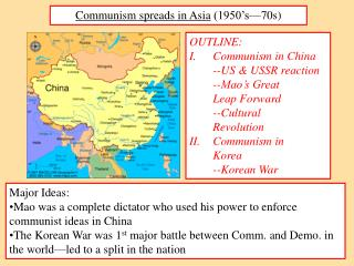 Communism spreads in Asia  (1950's—70s)