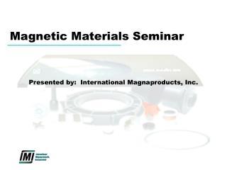 Magnetic Materials Seminar