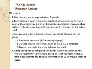 The Kite Runner  Research Activity