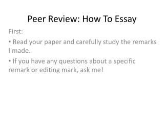 Peer Review: How To  Essay