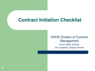 Contract Initiation Checklist