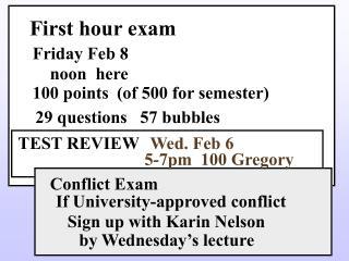First hour exam