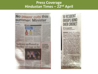 Press Coverage Hindustan Times – 22 nd  April