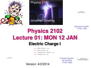 Physics 2102  Lecture 01: MON 12 JAN