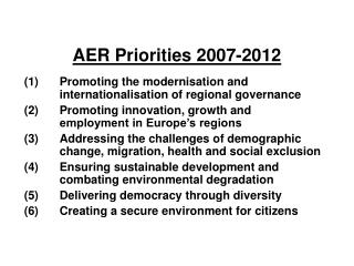 AER Priorities 2007-2012