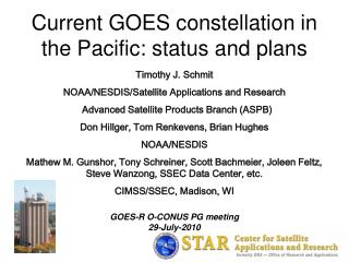 Current GOES constellation in the Pacific: status and plans