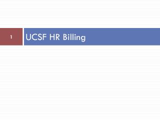UCSF HR Billing