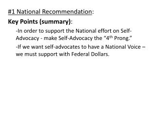 #1 National Recommendation : Key Points (summary) :
