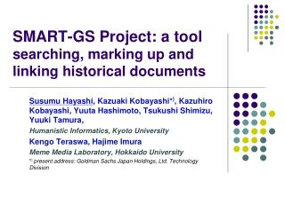 SMART-GS Project: a tool searching, marking up and linking historical documents