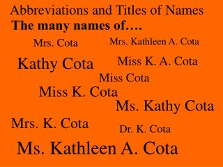 Abbreviations and Titles of Names