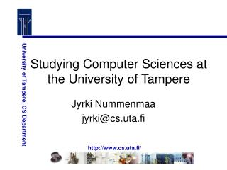 Studying Computer Sciences at the University of Tampere