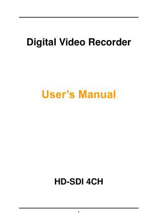 Digital Video Recorder User�s Manual