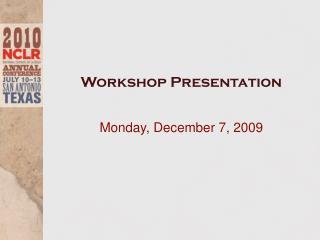 Workshop Presentation